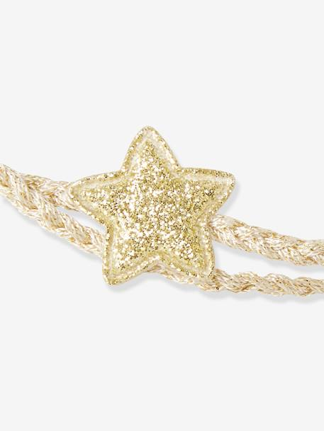 Double-Braided Headband with 2 Stars BLUE DARK SOLID WITH DESIGN+Gold / stars