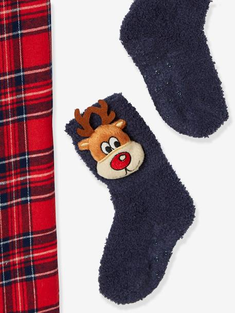 Merry Christmas Gift Box with Pyjamas + Fancy Socks, for Boys BLUE DARK SOLID WITH DESIGN