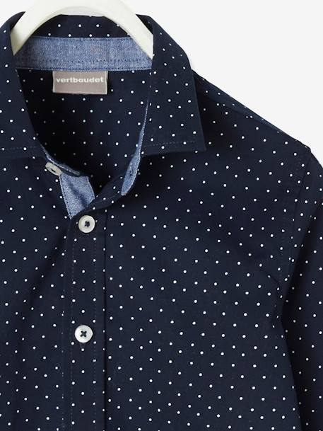 Shirt with Dot Print, for Boys BLUE LIGHT ALL OVER PRINTED+BROWN DARK ALL OVER PRINTED