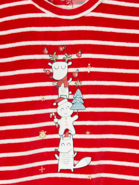 Striped & Printed Christmas Special Sleepsuit, for Baby Girls RED DARK SOLID WITH DESIGN