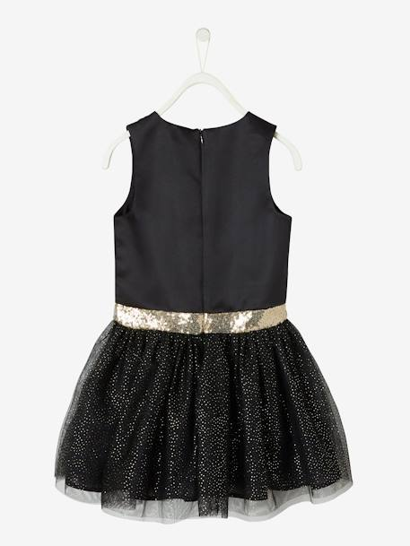 Occasion Dress in Sateen & Iridescent Tulle for Girls BLACK DARK SOLID+RED DARK SOLID