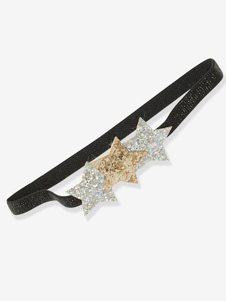 Magic Star Gift Set with Sequinned Jumper + Headband for Girls BLACK DARK SOLID WITH DESIGN