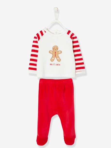 Christmas Special Pyjamas, Gingerbread Man RED DARK SOLID WITH DESIGN