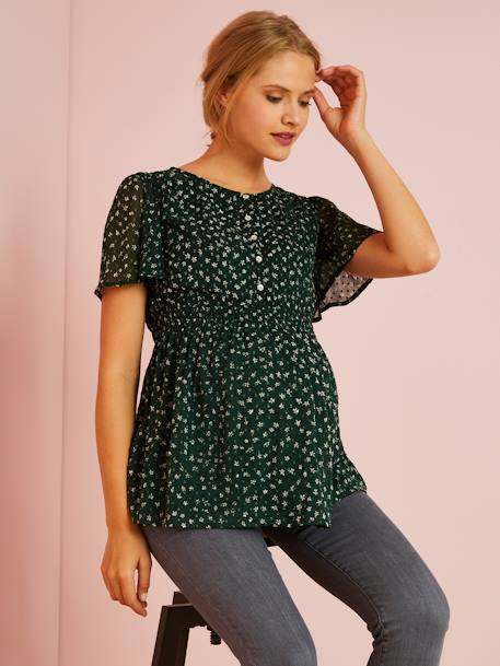 Maternity Printed Blouse GREEN DARK ALL OVER PRINTED