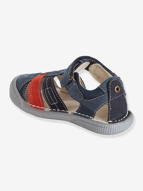 Boys Leather Sandals, Designed For Autonomy Grey / aqua+Ink / red