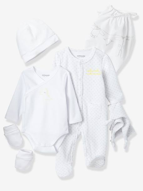 Newborn Baby 5-Piece Set Printed white