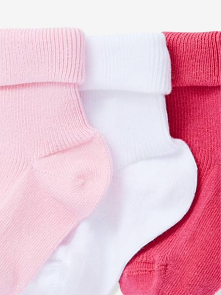 Baby Pack of 5 Pairs of Flat Rib Socks Blue pack+Rose pack