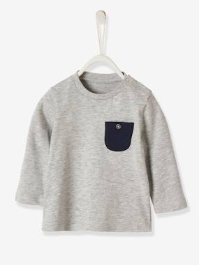 Long Sleeved Top With Breast Pocket For Baby Boys Grey Light Mixed Color