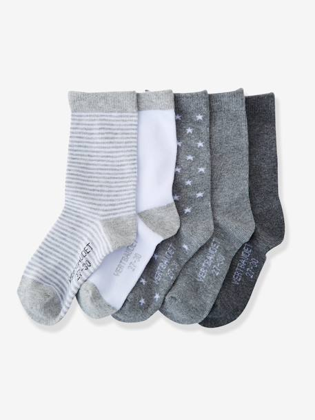 Girls' Pack of 5 Pairs of Socks BLUE LIGHT TWO COLOR/MULTICOL+Dark blue pack+Grey pack+Light pink striped pack