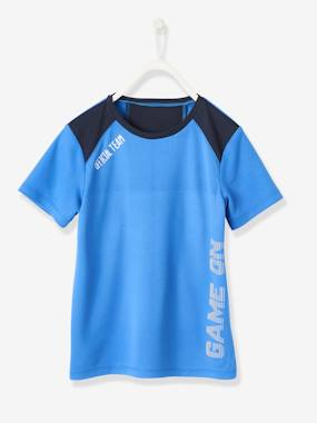 Click to view product details and reviews for Sports T Shirt For Boys In Techno Fabric Black Dark Solid With Design.