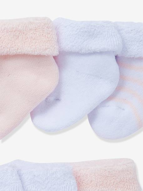 Newborn Baby Pack of 7 Pure Cotton Bootees Ash grey pack+BLUE LIGHT STRIPED+GREY LIGHT STRIPED+PINK LIGHT STRIPED+Rose pack