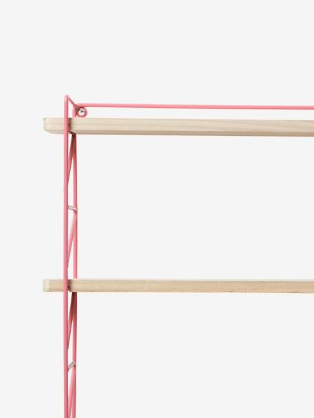 Metal & Wood 3-Level Shelving System Green+Pink/wood