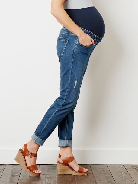 Maternity Boyfriend Fit Jeans - Inside Leg 29' BLACK DARK SOLID+Stonewash