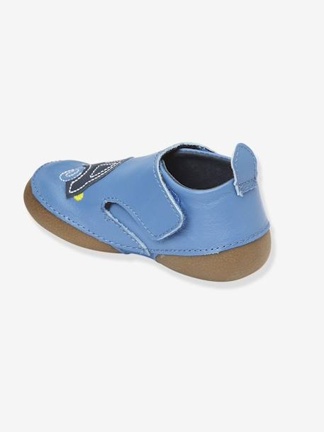 Baby Embroidered Leather Non-Slip Bootees Blue / car+Grey / teepee
