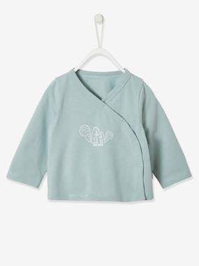 Cardigan In Organic Cotton For Newborns Green Medium Solid With Desig