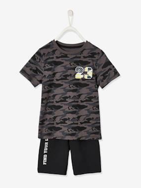 Click to view product details and reviews for Sports Set T Shirt Bermuda Shorts For Boys Grey Dark All Over Printed.