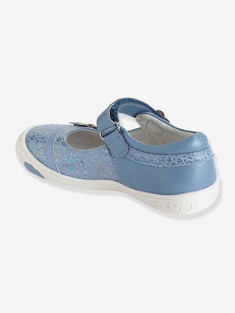 Girls Leather Mary Jane Shoes With Touch N Close Fastening, Designed For Autonomy Blue+Ecru+PINK LIGHT SOLID