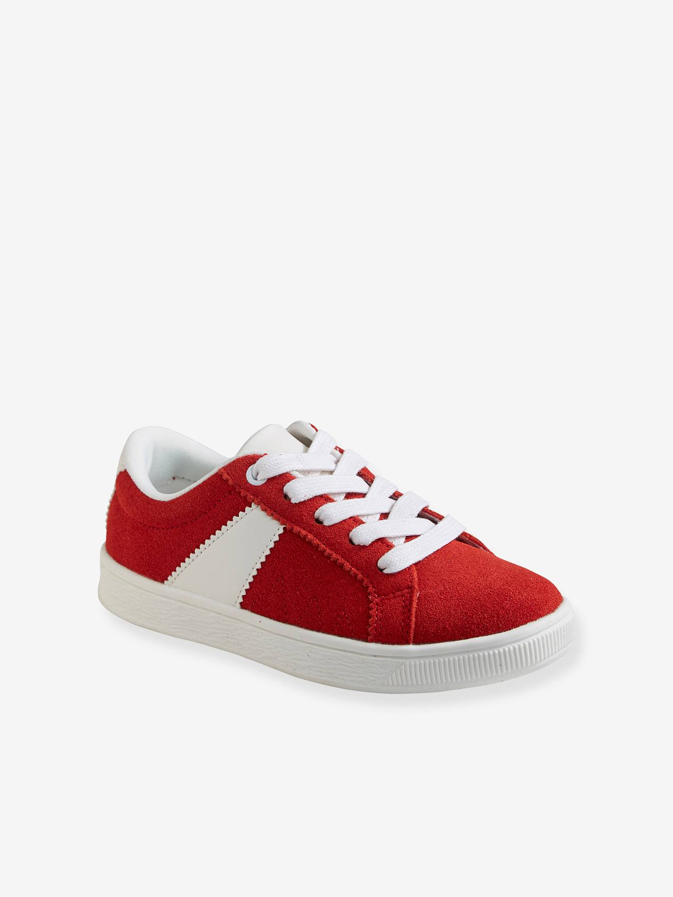 Split Leather Trainers for Boys - red