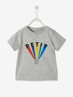 Click to view product details and reviews for T Shirt With Print For Baby Boys Grey Light Mixed Color.