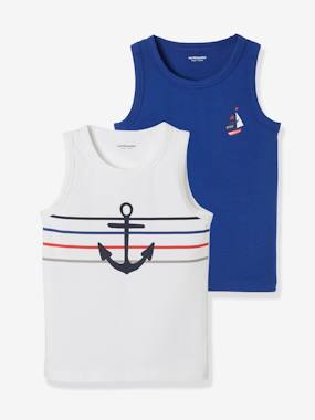 Click to view product details and reviews for Pack Of 2 Stretch Vest Tops For Boys Sailors Blue Bright 2 Color Multicol.