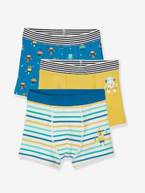 Pack Of 3 Stretch Boxer Shorts Robots For Boys Yellow Medium 2 Color Multicol