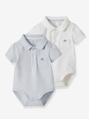 Click to view product details and reviews for Pack Of 2 Bodysuits With Polo Shirt Collar Pocket For Newborns Blue Dark Two Color Multicol.