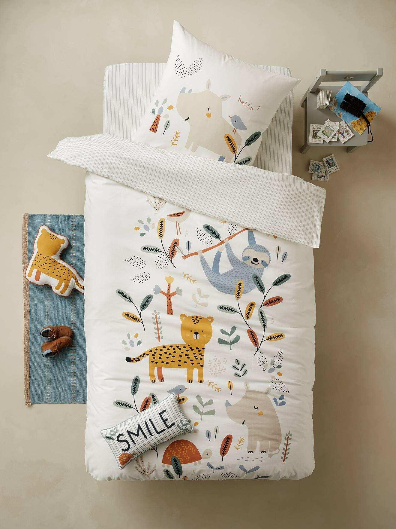 Children S Duvet Cover Pillowcase Set Jungle Paradise White Light All Over Printed Bedding Decor Vertbaudet