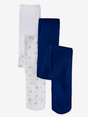 Pack Of 2 Stylish Pairs Of Tights For Girls Blue Dark Solid With Design