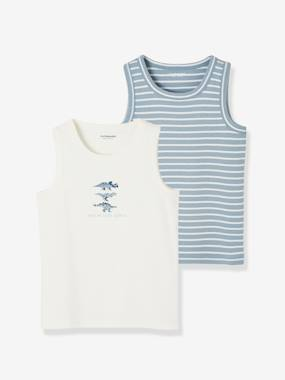 Click to view product details and reviews for Pack Of 2 Tank Tops For Boys Dinosaurs White Light Two Color Multicol.