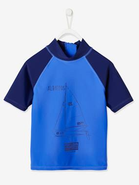 Uv Protection Swim T Shirt With Sail Boat For Boys Blue Dark Solid With Design