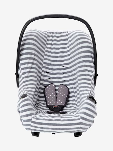 Elasticated Cover for Group 0+ Car Seat Grey/white striped