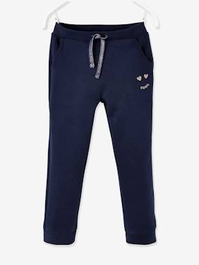 Click to view product details and reviews for Fleece Joggers With Iridescent Details For Girls Blue Dark Solid.
