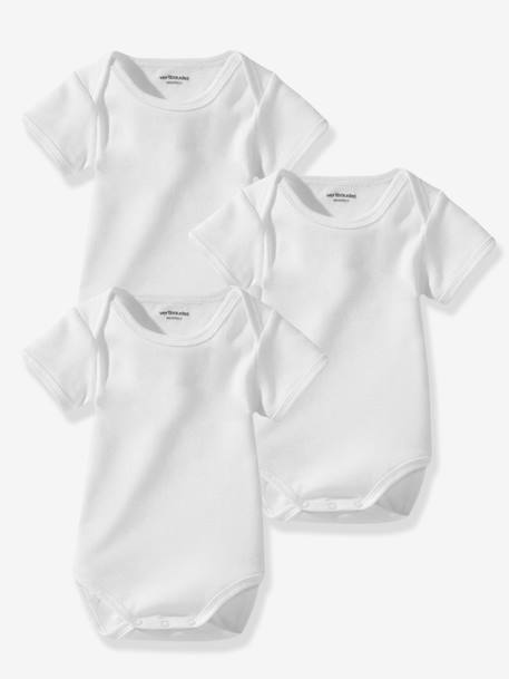 Baby Pack of 3 Organic Collection Short-Sleeved White Bodysuits White pack