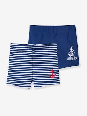 Click to view product details and reviews for Pack Of 2 Swim Shorts Pool Special For Boys Blue Dark Solid With Design.