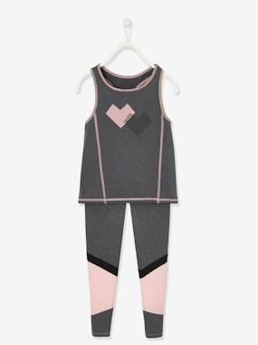 Click to view product details and reviews for Sports Combo In Techno Fabric Top Leggings For Girls Grey Dark Mixed Color.