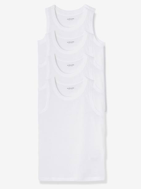 Pack of 4 Boys' Vest Tops White