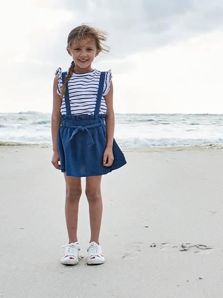 Striped T-Shirt + Cotton Gauze Skirt Outfit, for Girls - blue medium  striped, Girls   Vertbaudet