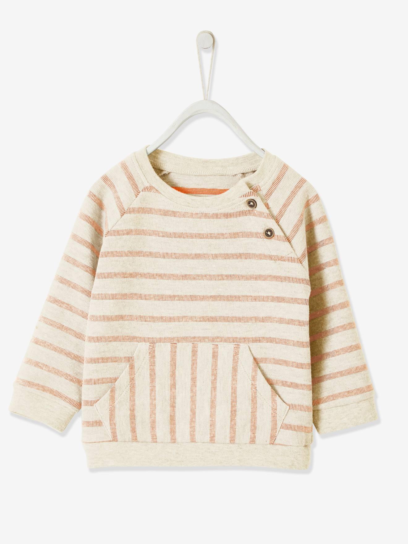 Baby Boys or Girl Jumper in Orange and Dark Grey Stripe
