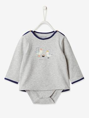 Click to view product details and reviews for Bodysuit Top For Newborn Babies Grey Light Solid With Design.
