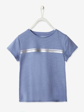 Click to view product details and reviews for Sports T Shirt With Iridescent Stripes For Girls Blue Medium Solid With Design.