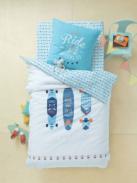 Fitted Sheet, Brooklyn Skate Theme White/blue