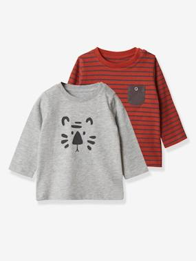 Click to view product details and reviews for Pack Of 2 Long Sleeved Tops For Baby Boys With Animal Motif Grey Light Two Color Multicol.