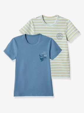 Click to view product details and reviews for Pack Of 2 Short Sleeved T Shirts For Boys Whale White Light Striped.
