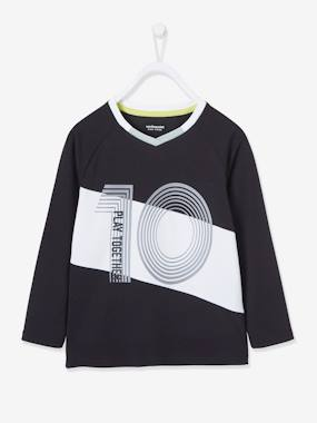 Click to view product details and reviews for Football Top In Techno Fabric For Boys Black Dark Solid With Design.