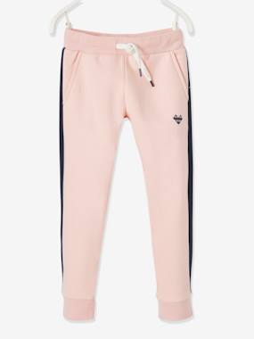 Click to view product details and reviews for Fleece Joggers With Stripe Down The Sides For Girls Blue Dark Solid With Design.