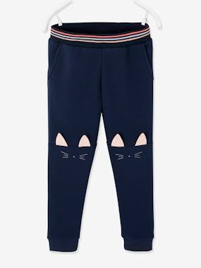 Click to view product details and reviews for Joggers With Fancy Cat Faces On The Knees For Girls Blue Dark Solid With Design.