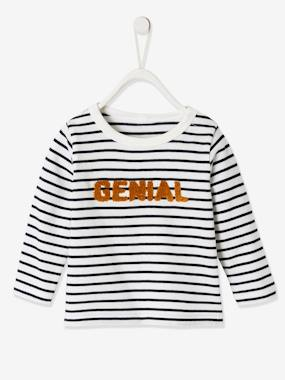 Click to view product details and reviews for Top With Message For Baby Boys Blue Dark Striped.