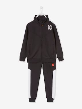 Click to view product details and reviews for Sports Set For Boys In Techno Fabric Black Dark Solid With Design.