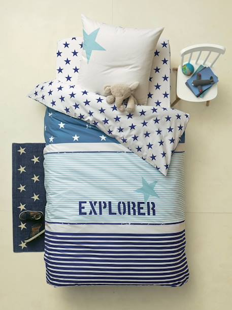 Fitted Sheet, Explorer Theme Blue/ecru