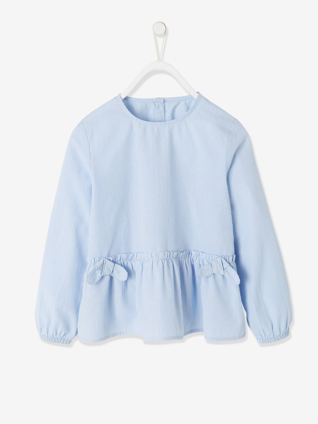 Striped Blouse with Ruffle & Decorative Bow for Girls - blue light striped,  Girls | Vertbaudet